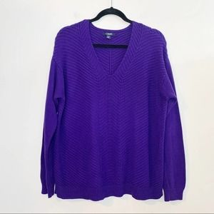 CHAPS Purple Ribbed Knit V-Neck Sweater